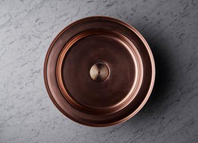 Spas - Vasque NARCIS rond cuivre brillant, clapet cuivre guilloché - BASSINES