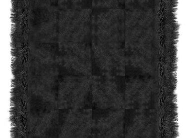 Rugs - Cowhide with Mongolian Goat Jet Black - KOKET