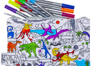 Stationery - colour & learn dinosaur pencil case - EATSLEEPDOODLE