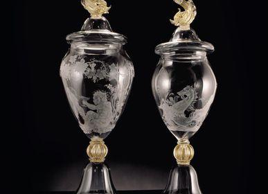 Art glass - Murano Glass Jar Engraved - SEGUSO GIANNI