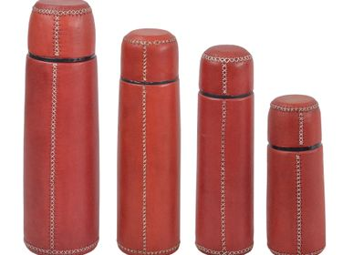 "Travel accessories / suitcase - Thermos flask brand ""Thermos"" covered in leather  - SOL & LUNA"