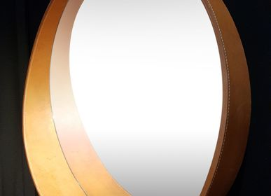 Miroirs - HAMAC miroir et cuir - GLASSVARIATIONS