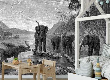 Wallpaper - Papier Peint Panoramique Gravure - Les Eléphants - CIMENT FACTORY