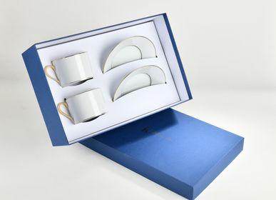 Accessoires thé et café - La paire-tasse thé ELEGANCE or mat - ALAIN BABULE