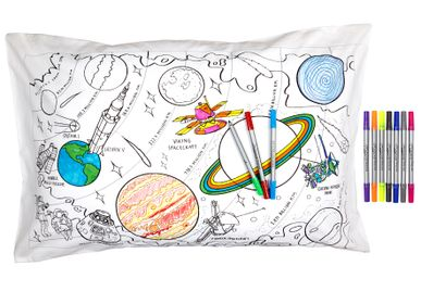 Children's bedrooms - colour & learn space explorer pillowcase  - EATSLEEPDOODLE