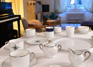 Tasses et mugs - La paire-tasse thé ELEGANCE platine brillant - ALAIN BABULE