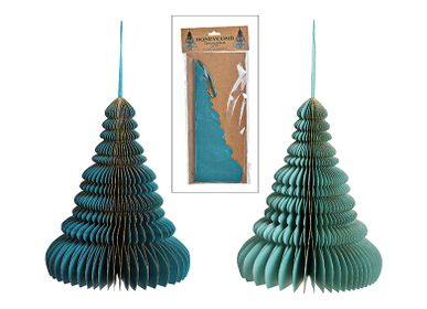 Christmas decoration - Hanger tree honeycomb with gold glitter, paper/carton, green 2-assorted, 25x30x25cm - WURM G. GMBH + CO. KG