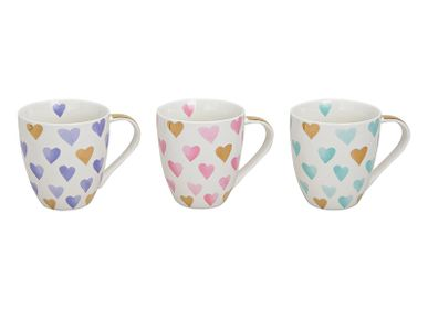 Tea / coffee accessories - Jumbo Mug heart design, porcelain, 3 colours assorted with real gold ornaments, 11 cm, 400 ml - WURM G. GMBH + CO. KG