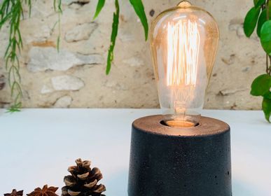 Design objects - Concrete Lamp | Cylinder | Concrete anthrac - JUNNY