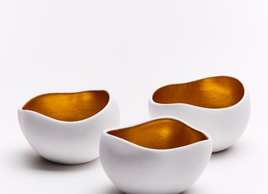 Pottery - white and gold cups - 3-piece set - ANOQ