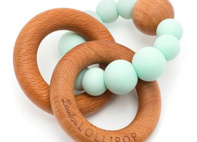 Toys - Bubble Silicone and Wood Teething Rattle - LOULOU LOLLIPOP
