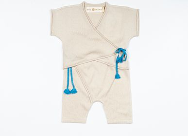 Children's fashion - TOKI bodysuit, cardigan, vest & trousers. Silk & cashmere blend. Knitwear - SOL DE MAYO