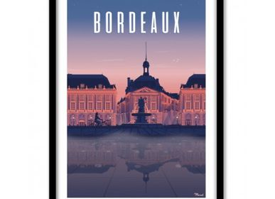 "Poster - POSTER BORDEAUX ""PLACE DE LA BOURSE"" BY NIGHT - MARCEL TRAVELPOSTERS"