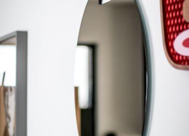 Design objects - OEILLET bronze mirror with Cognac leader - GLASSVARIATIONS