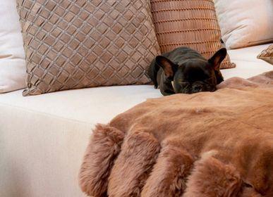Cushions - Geometrico Woven Leather Cushion - ELISA ATHENIENSE HOME