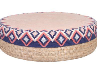 Ottomans - Handmade Peruvian Pouf/Ottoman Rose - D.A.R. PROYECTOS