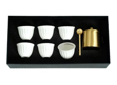 Tasses et mugs - Set of 6 Chaffe with Brass Tray - ZARINA