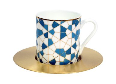 Mugs - Set of 6 Espresso with Brass Saucer - ZARINA