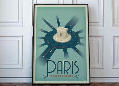 """Poster - POSTER PARIS """"Place de l'Etoile"""" - MARCEL TRAVELPOSTERS"""