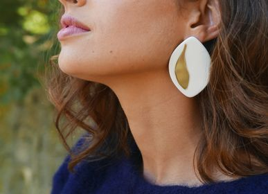 Jewelry - Olea earrings porcelain and gold - JOUR DE MISTRAL