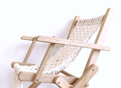 Children's tables and chairs - Vintage deckchair in macrame - LES LOVERS DECO