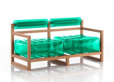 Canapés pour collectivités - YOKO canapé cadre bois vert cristal - MOJOW