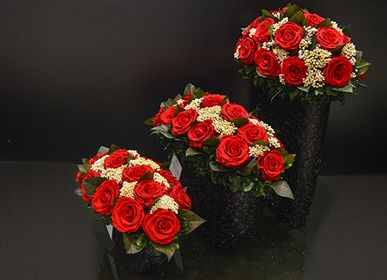Floral decoration - Resin Black Red Roses (small, medium large) - VIVA FLORA
