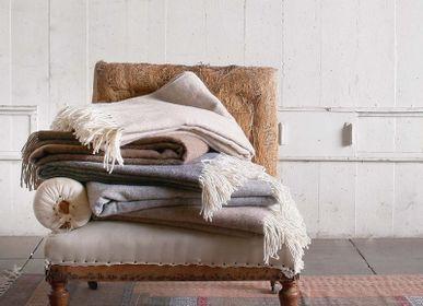 Throw blankets - Storm plaid wool - ML FABRICS