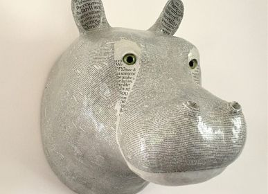 Wall decoration - White Hippopotamus Trophy - ATELIERNOVO