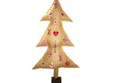 Guirlandes et boules de Noël - sapin de noël lumineux toile de jute avec sujets - MX HOME