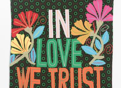 "Bags / totes - EMBROIDERED BAG ""IN LOVE TRUST WE TRUST"" - MAHATSARA"