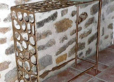 Console table - Orga bronze console + glass cup - NICO TOURNAIRE