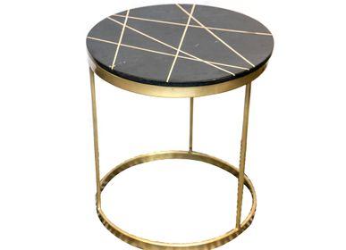 Tables Salle à Manger - Bout de canapé rond marbre/laiton. - ASIATIDES