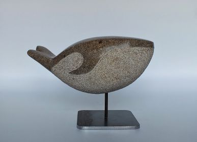 Sculptures, statuettes and miniatures - Small Granite Whale - LUCIE DELMAS SCULPTURE
