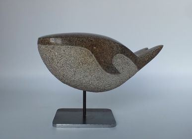 Sculptures, statuettes and miniatures - Small Granite Whale - LUCIE DELMAS SCULPTURE