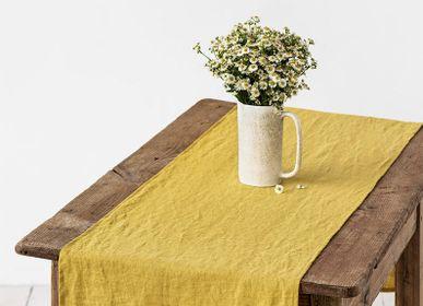Table cloths - Ruffled linen table runner in Moss Yellow - MAGIC LINEN
