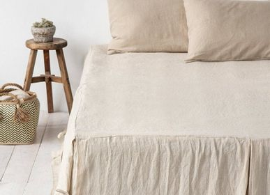 Bed linens - Linen bed skirt with corner ties in various colors - MAGIC LINEN