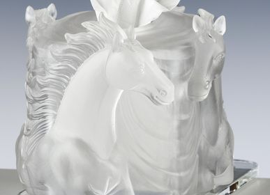 Art glass - TOWEL BOX HORSES - CRISTAL DE PARIS