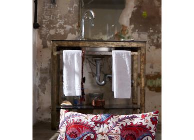 Comforters and pillows - Hagia Sophia Two Tulip Suzani Cushion Double Sided With Ikat - HERITAGE GENEVE