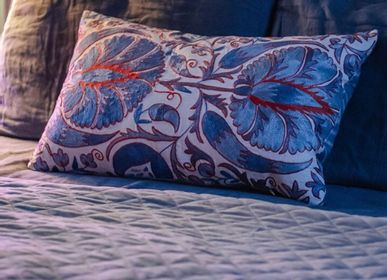 Fabric cushions - Babylon Myrtle Blue Suzani Cushion Double Sided With Ikat - HERITAGE GENEVE