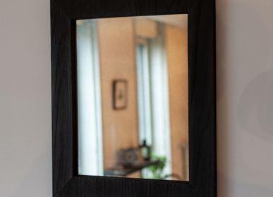 Miroirs - Miroir Avec Cadre En Bois Brûlé - ATELIER MAJEUR