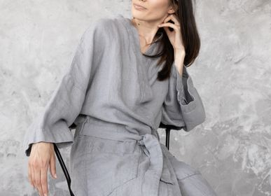 Homewear - Peignoir de bain en lin gaufré - LINENME