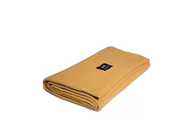 Throw blankets - Eco-designed Wool Blanket Mustard - LA MAISON DE LA MAILLE