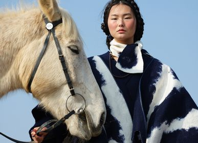 Scarves - MONGOLIA CLOUD Handcrafted cashmere scarf - Blue on White - SANDRIVER CASHMERE