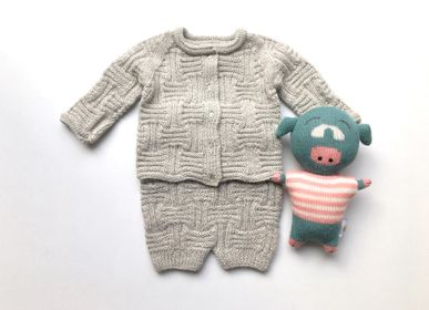 Children's apparel - BUBU handknitted cardigan, bloomers and shoes 100%baby alpaca - SOL DE MAYO
