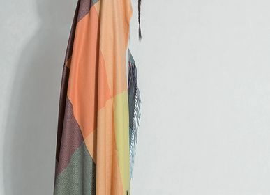 Throw blankets - Multi color block cashmere throw  - ERDENET CASHMERE