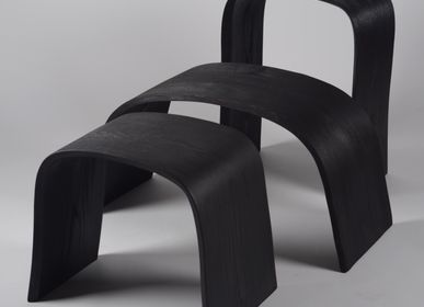 Tabourets - Collection MINIMAL  Shou-sugi-ban (bois brulé) - JOE SAYEGH PARIS