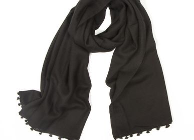 Scarves - Black winter scarf with Pompons - MIA ZIA