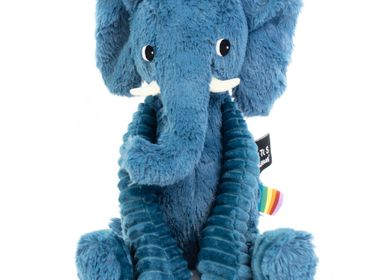 Soft toy - Plush Ptipotos the Blue Elephant - LES DEGLINGOS