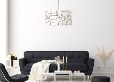 Hanging lights - Pendant lamp shade white graphic lines Ariane Pierre Frey -  SHĒDO